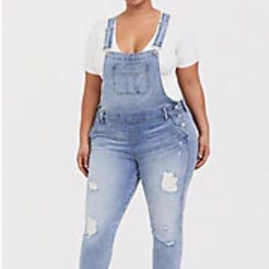 Torrid size 20 Distressed Light Wash Overall